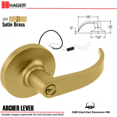 Hager 3480 Archer Lever Electric Lockset US4 EL24 Stock No 134409