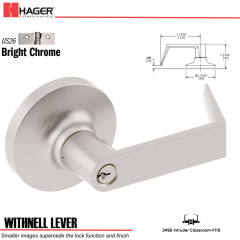 Hager 3495 Withnell Lever Lockset US26 Stock No 109274