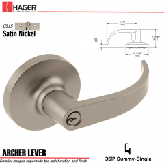 Hager 3517 Archer Lever Lockset US15 Stock No 170915