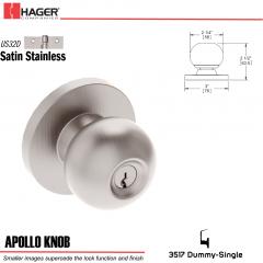 Hager 3517 Apollo Knob Lockset US32D Stock No 000105