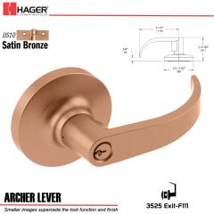 Hager 3525 Archer Lever Lockset US10 Stock No 095545