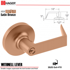 Hager 3525 Withnell Lever Lockset US10 Stock No 095536