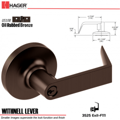 Hager 3525 Withnell Lever Lockset US10B Stock No 117776