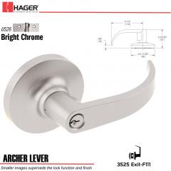 Hager 3525 Archer Lever Lockset US26 Stock No 166224