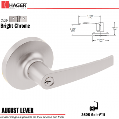 Hager 3525 August Lever Lockset US26 Stock No 132017