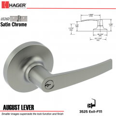 Hager 3525 August Lever Lockset US26D Stock No 038430