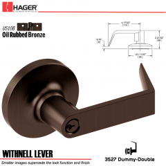 Hager 3527 Withnell Lever Lockset US10B Stock No 111194