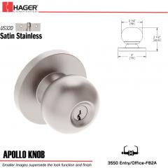 Hager 3550 Apollo Knob Lockset US32D Stock No 129986