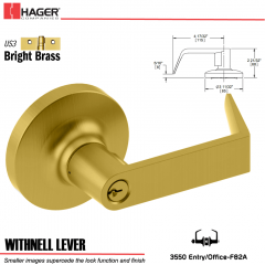 Hager 3550 Withnell Lever Lockset US3/US26D Stock No 174413