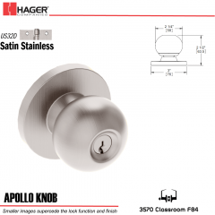 Hager 3570 Apollo Knob Lockset US32D Stock No 162445