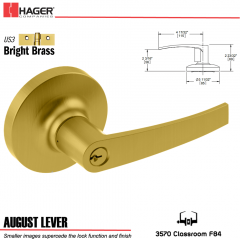 Hager 3570 August Lever Lockset US3/US26D Stock No 166118
