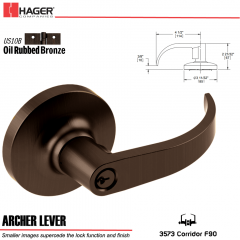 Hager 3573 Archer Lever Lockset US10B Stock No 163158