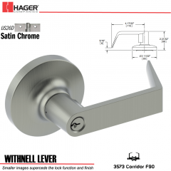 Hager 3573 Withnell Lever Lockset US26D Stock No 139864