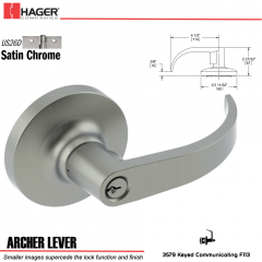 Hager 3579 Archer Lever Lockset US26D Stock No 152122