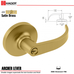 Hager 3580 Archer Lever Lockset US4 Stock No 068443