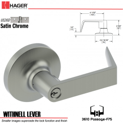 Hager 3610 Withnell Lever Lockset US26D Stock No 119162