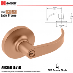 Hager 3617 Archer Lever Lockset US10 Stock No 013176