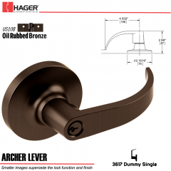 Hager 3617 Archer Lever Lockset US10B Stock No 013175