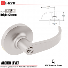 Hager 3617 Archer Lever Lockset US26 Stock No 013172