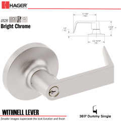 Hager 3617 Withnell Lever Lockset US26 Stock No 013166