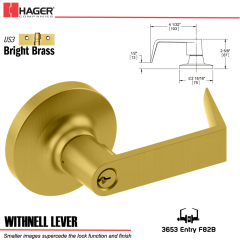Hager 3653 Withnell Lever Lockset US3 Stock No 036967
