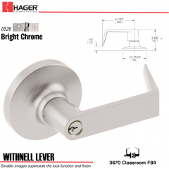 Hager 3670 Withnell Lever Lockset US26 Stock No 160678