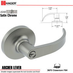 Hager 3670 Archer Lever Lockset US26D Stock No 161450