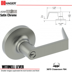 Hager 3670 Withnell Lever Lockset US26D Stock No 194090