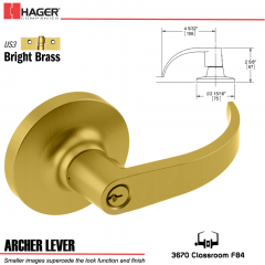 Hager 3670 Archer Lever Lockset US3 Stock No 131676