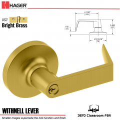 Hager 3670 Withnell Lever Lockset US3 Stock No 135579