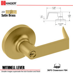 Hager 3670 Withnell Lever Lockset US4 Stock No 152800