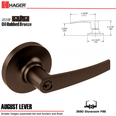 Hager 3680 August Lever Lockset US10B Stock No 127300