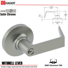Hager 3680 Withnell Lever Lockset US26D Stock No 132181