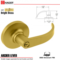 Hager 3680 Archer Lever Lockset US3 Stock No 147311