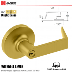 Hager 3680 Withnell Lever Lockset US3 Stock No 166996