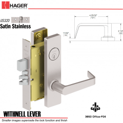 Hager 3850 US32D Withnell Lever Door Lock Stock No 147951