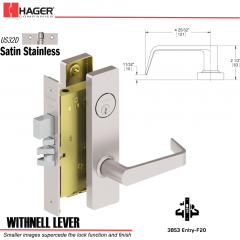Hager 3853 US32D Withnell Lever Door Lock Stock No 150915