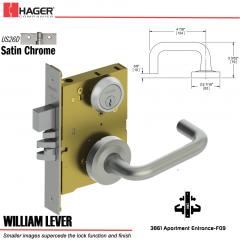 Hager 3861 US26D William Lever Door Lock Stock No 173030