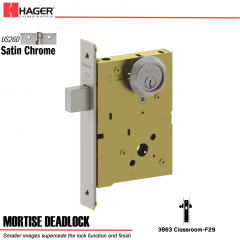 Hager 3863 US26D Mortise Deadlock Stock No 186453