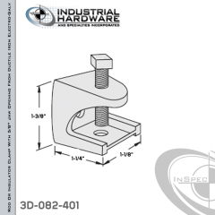 Rod Or Insulator Clamp With 5/8 in. Jaw Opening From Ductile Iron Electro-Galv For 1/4-20