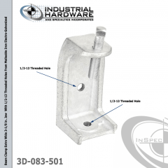 Beam Clamp Extra Wide 3-1/8 in. Jaw  With 1/2-13 Threaded Holes From Malleable Iron Electro-Galvanized