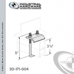 U-Bolt Beam Clamp With 5 in. Inside Length From Steel-Hot Dip Galv. For 3-1/4 in. Strut