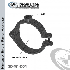 Hinged Split Ring Hanger From Plain Steel-Light Oil For 1-1/4 in. Pipe