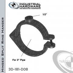 Hinged Split Ring Hanger From Plain Steel-Light Oil For 3 in. Pipe