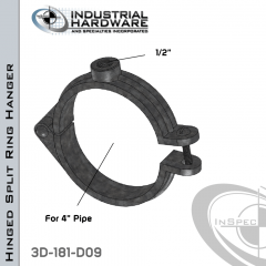 Hinged Split Ring Hanger From Plain Steel-Light Oil For 4 in. Pipe