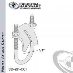 Right Angle Clamp From Stainless Type 316 For 1/2 in. Pipe