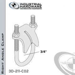 Right Angle Clamp From Stainless Type 316 For 3/4 in. Pipe