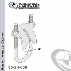 Right Angle Clamp From Stainless Type 316 For 3 in. Pipe