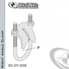 Right Angle Clamp From Steel-Hot Dip Galv. For 3 in. Pipe