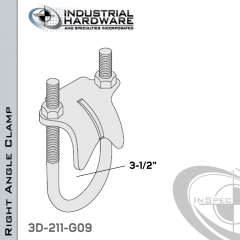 Right Angle Clamp From Steel-Hot Dip Galv. For 3-1/2 in. Pipe